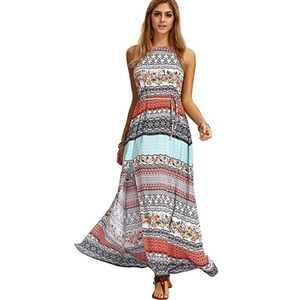NEW Boho Floral Geometric Print Halter Maxi Dress
